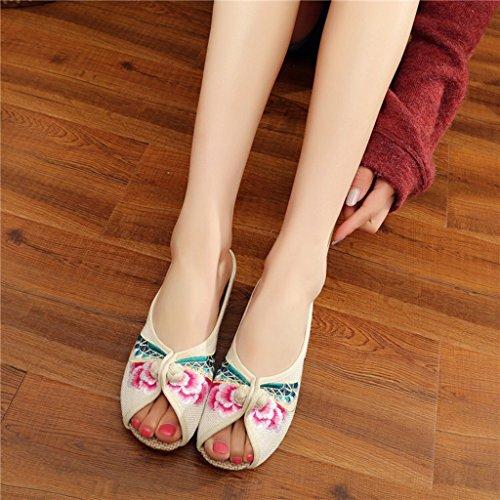 Eagsouni® Damen Hausschuhe Pantoffeln Sommer mit Blumen Stickerei Traditionelle Chinesische Schuhe Beige