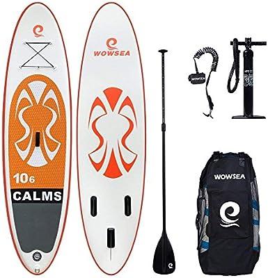 WOWSEA Tabla Hinchable Paddle Surf, 2018 Paddle Board Hinchable con tamaño 320 * 81 * 15cm, Carga hasta 135kg - Naranja