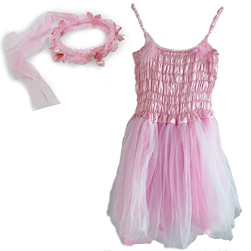 [White Fairy Princess Dress & Head Wreath Little Girl's Dress Up Costume Pink] (Little Girl Pageant Costumes)