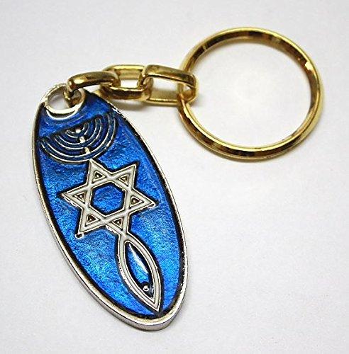 Schlüsselanhänger Davidstern & Menora Glücksbringer Amulett Blau Geschenkidee Body-soul-n-spirit