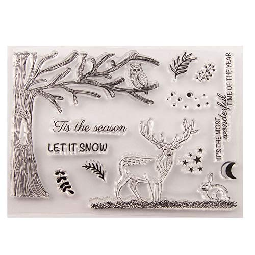Merry Christmas Tis the Season Elk Deer Tree Owl Stars Clear Stamps for Christmas Cards Making Decoration and Scrapbooking Rubber Stamps for Craft (Christmas Stamps Cards Rubber)