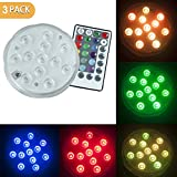 PX Home Underwater Submersible LED Lights, Waterproof Wireless Remote Controlled Battery Operated Multicolor 10 LEDs Reusable Lights for Pond,Pool,Aquarium,Party, Wedding, Vase Base etc.- 3 Pack
