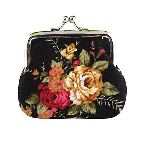 Bokeley Clearance ! Cute Floral Buckle Coin Purses Vintage Pouch Kiss-Lock Change Purse Wallets (Black) ()