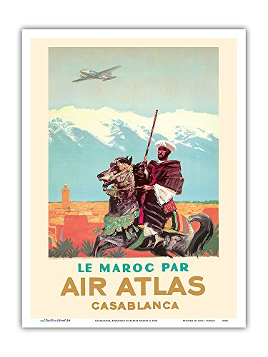 Casablanca, Morocco - by (Le Maroc Par) Air Atlas - Vintage Airline Travel Poster by Albert Brenet c.1950 - Master Art Print - 9in x - Morocco Casablanca