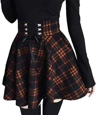 Mujer Plisado Falda Irregular Celosía Minifalda Cintura Alta ...
