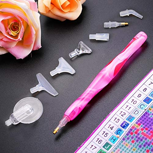 13 Pieces Resin Diamond Painting Tools Kit Includes Handmade 5D DIY Resin Diamond Pen, Assorted Pen Heads, Elbow Pen Heads, Non-Slip Mats Diamond Painting Accessories for Painting Craft (Pink)