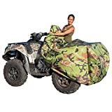 XYZCTEM Waterproof ATV Cover, Heavy Duty Meterial Protects 4 Wheeler From Snow Rain or Sun, XL Universal Size Fits Most Quads, Elastic Bottom Can Be Trailerable At High Speeds ( Camo )