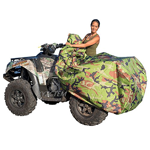 Canvas Duty Cover Heavy Wheel (XYZCTEM Waterproof ATV Cover, Heavy Duty Meterial Protects 4 Wheeler From Snow Rain or Sun, Large Size Universal Fits up to 100 Inch Most Quads, Elastic Bottom Trailerable At High Speeds (Camo))