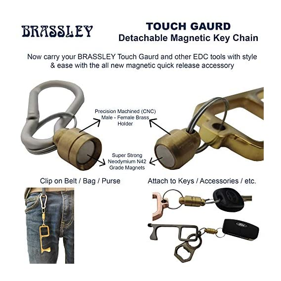 BRASSLEY Smart Access Anti Microbial Brass EDC Tool with Stylus for Touchscreen and Detachable Magnetic Holder (Quick Release Keychain) and Carabiner- No Touch Door Opener - Screwdriver Box Cutter
