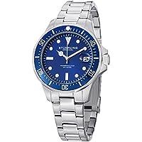 Aquadiver Mens Dive Watch - Quartz Analog Waterproof Sports Watch - Blue Dial Date Display Swim Wrist Watch for Men - Luminous Waterproof Watch with Stainless Steel Bracelet 664.02