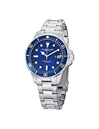 Stuhrling Original Men's 664.02 Aqua Diver Analog Display Japanese Quartz Date Silver Watch