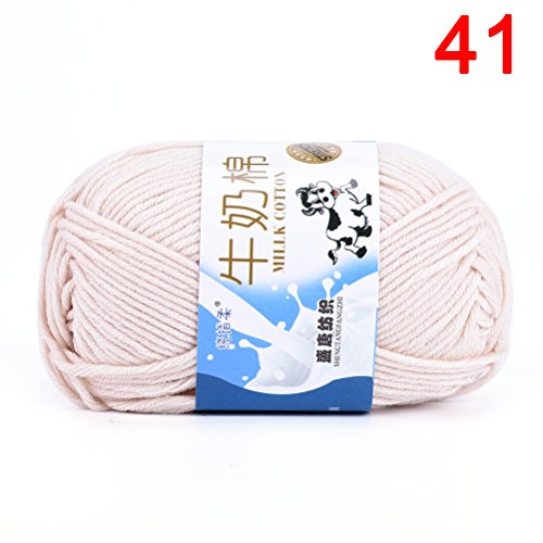 TUANTUAN 1 Lot Multicolor Milk Cotton Yarn Cotton Chunky Hand-woven Crochet Knitting Wool Yarn Warm & Soft Yarn for Sweaters Hats Scarves DIY,Khaki White
