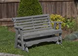 Amish Heavy Duty 800 Lb Roll Back Pressure Treated Porch Patio Garden Lawn Outdoor GLIDER-5 Feet-GREY-Made in USA