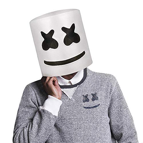 Handmade Top DJ Marshmello Helmet Marshmallow Cosplay Latex Full Head Mask Halloween Party Costume Prop White -