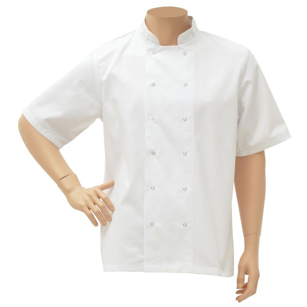 HUBERT White Poly Cotton Short Sleeve Chef Coat - Small