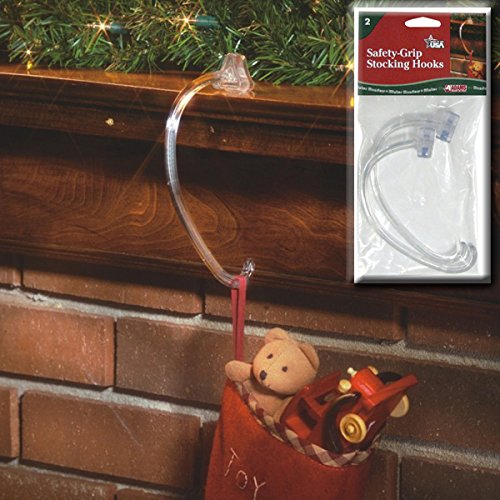 Adams Christmas 5730-06-1240 Safety Grip Stocking Hook, 2-Pack (Adams Plastic Clips)