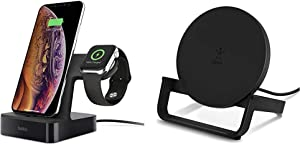 Belkin iPhone Charging Dock + Apple Watch Charging Stand iPhone Dock, Apple Charging Station (Black), Compatible with iPhone 11, 11 Pro, 11 Pro Max and More & Wireless Charging Stand 10W