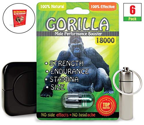 Green Gorilla 18000 (6 Caps) Male Performance, Energy, Enhancement, and Endurance Bundle with Accessories (9 Items)