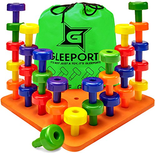 GLEEPORTE Stacking Peg Board Set Toy - Montessori Occupational Therapy Early Learning for Fine Motor Skills, Ideal for Toddlers and Preschooler, Includes 30 Plastic Pegs & 1 (Large Motor)