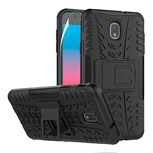 Case Rubberized Black Protector Shield (Galaxy J7 2018 (J737) Case with HD Screen Protector,Heavy Duty Rugged Aromr Phone Cover Case with Kickstand for Samsung Galaxy J7 2018/J7 Aero/J7 Top/J7 Refine/J7 Eon/J7 Star/J7 Crown/J7 Aura,Black)