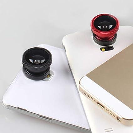 Red 3-in-1 Multifunctional Phone Lens Kit Fish Lens+Macro