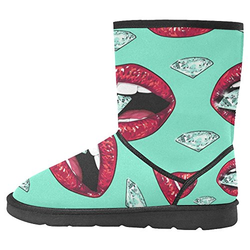 Boots Snow Unique Boots Designed 1 Bright InterestPrint Winter Comfort Womens Multi Lips EwTqgn5t