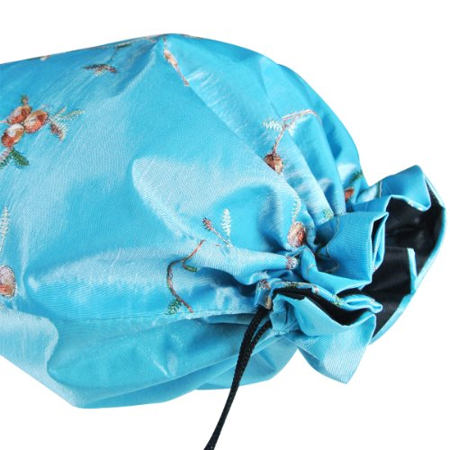 51zgjZq6TBL - Wrapables Beautiful Embroidered Silk Travel Bag for Lingerie and Shoes, Sky Blue
