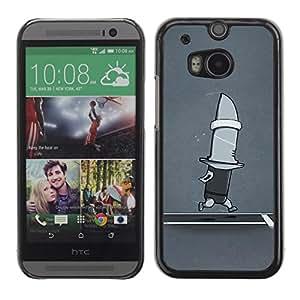 LECELL -- Funda protectora / Cubierta / Piel For HTC One M8 -- Funny Running Shark Knife --