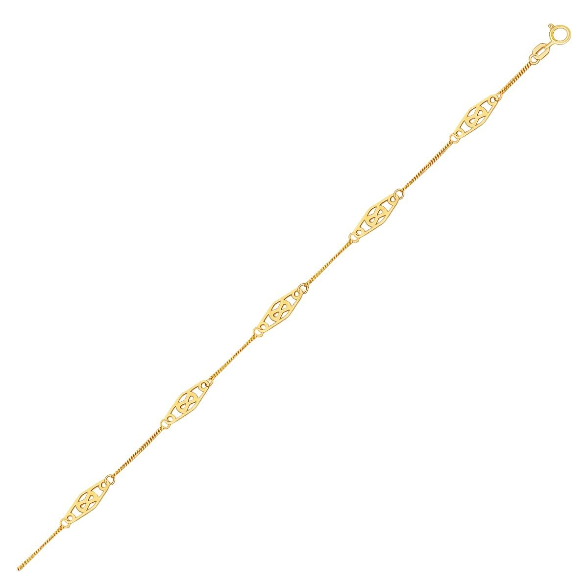 14K Yellow Gold Anklet with Fancy Diamond Shape Filigree Stations