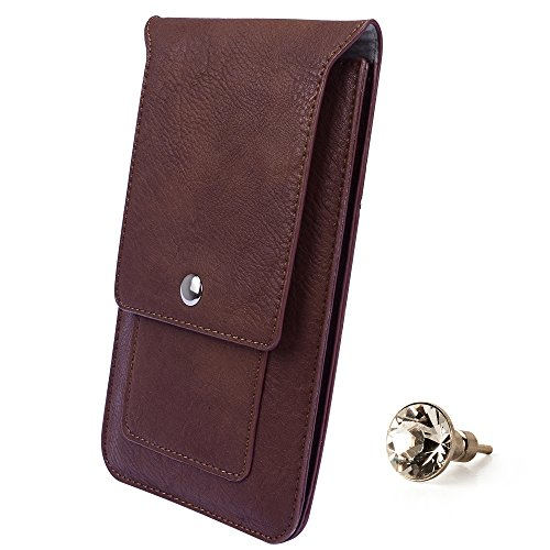SumacLife 5.5-inch Universal Vertical PU Leather Wallet Cellphone Belt Clip Case Cover Pouch Holster for Lenovo A916 / LG G4 + Swarovski Crystal Headphone Jack Dust Plug (Brown)