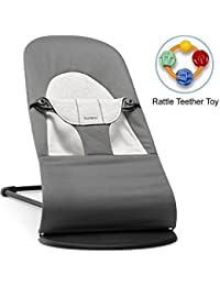 Baby Bjorn 005084USK Bouncer Balance Soft Dark Gray Gray Jersey with Rattle Teether Toy BOBEBE Online Baby Store From New York to Miami and Los Angeles