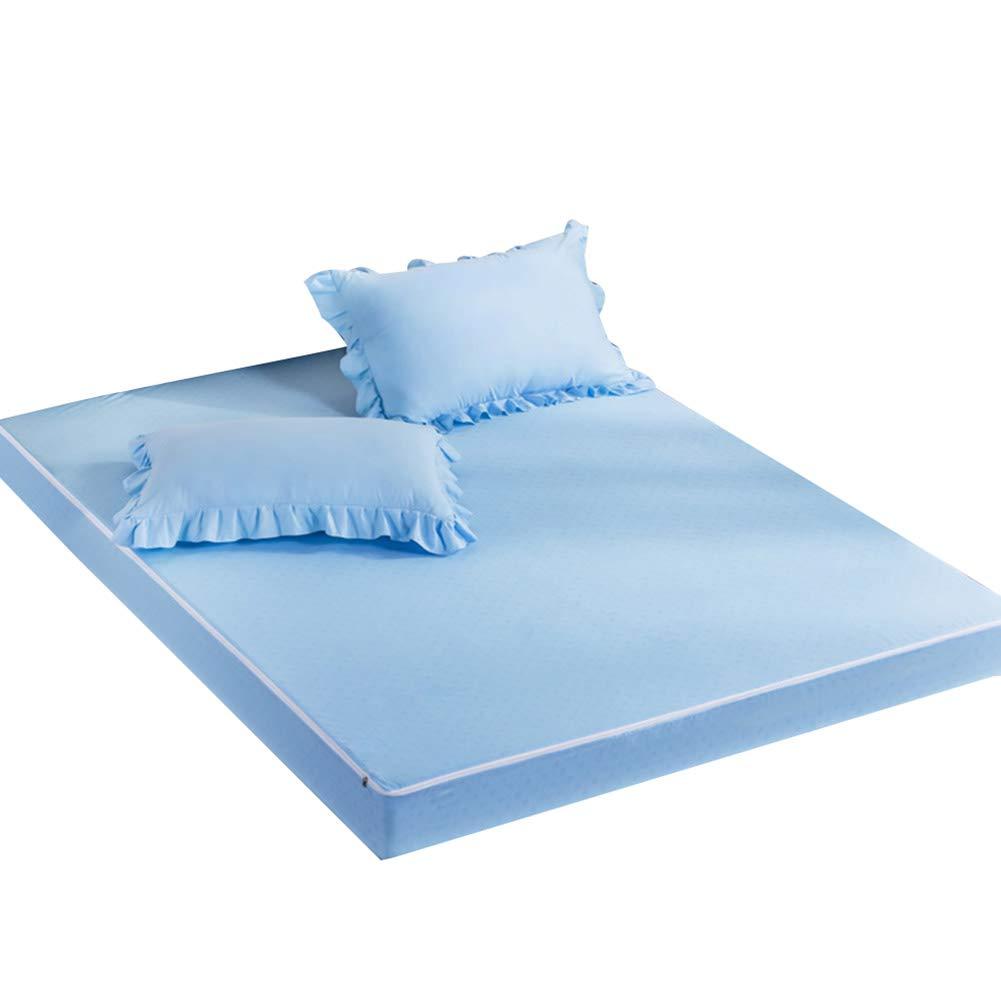 ZHAOHUI Matratzenschoner Polyester Atmungsaktiv Rutschfest Abnehmbar Reißverschluss Umweltschutz, 4 Pakete, 7 Farben, 2 Größen (Farbe : Blue-10pcs, größe : Queen)