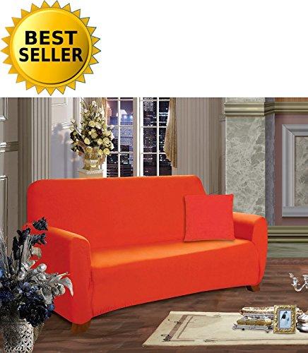 ion Luxury Soft Furniture Jersey STRETCH SLIPCOVER, Loveseat Orange ()
