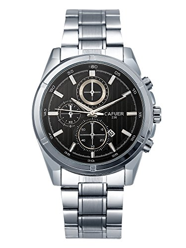 Cafuer Chronograph Look with Date Calendar Analogue Black Dial Mens Watch – W1158SBXZ