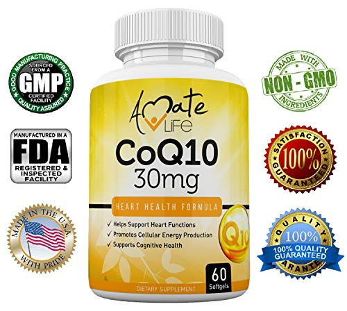 Amate Life CoQ10 (60 Softgels) – 30mg Ubiquinone Dietary Supplement for Heart Health, Cellular Energy, Blood Pressure, Cholesterol Level & Cognitive Health for Men & Women – Healthy Heart Formula