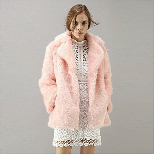 Rebeca Larga la ❤️ Chaquetas de Sintético Pelo Chaqueta Abrigo de mujer Párrafo Larga Soñador Longra Rosa de Invierno para Rosa pelo Mujer de 1gRq8