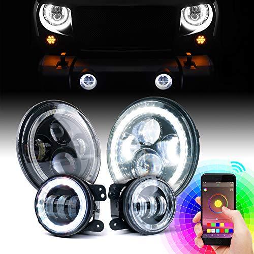 "Xprite 7"" 90W Bluetooth RGB Halo CREE LED Headlights & Fog Light Combo for 2007-2018 Jeep Wrangler JK JKU"