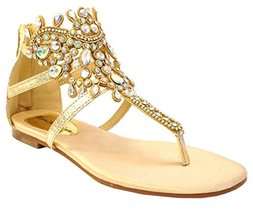 Holiday Shoes Gold Sandals Fashion Beach Strappy L4 Toe Womens Diamante Party Summer Ladies Post gwPXXO