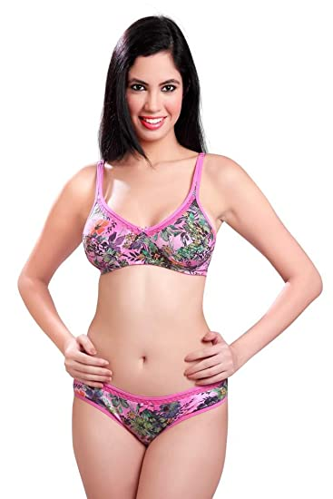 403103791a Sunny Printed Bra And Panty Set  Amazon.in  Clothing   Accessories