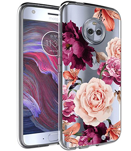 BAISRKE Moto X4 Case, Moto X4 Case with Flowers Slim Shockproof Clear Floral Pattern Soft Flexible TPU Back Cove for Motorola Moto X4 (2017) [Pink]