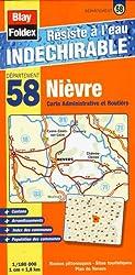 Nièvre (58). Carte Départementale, Administrative et Routière (échelle : 1/180 000)
