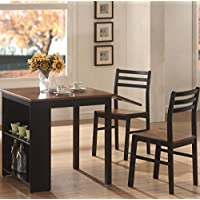 Coaster 130015 3-Piece Breakfast Dining Set with Storage, Include 2 Chairs & 1 Table, Durable Wood Construction, Chestnut/Black