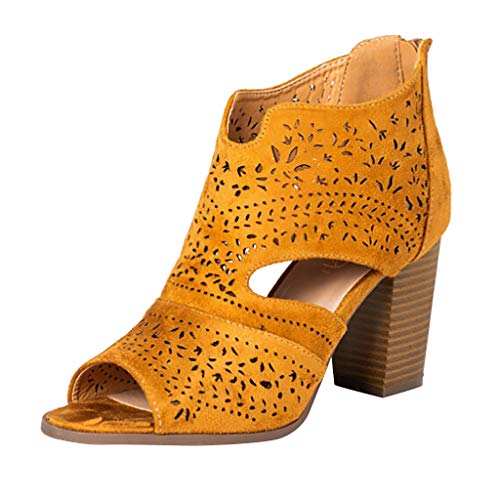 Women Peep Toe Laser Cutout Ankle Booties Stacked Chunky Heel Back Zip Open Toe Heeled Sandals Shoes by Lowprofile Yellow