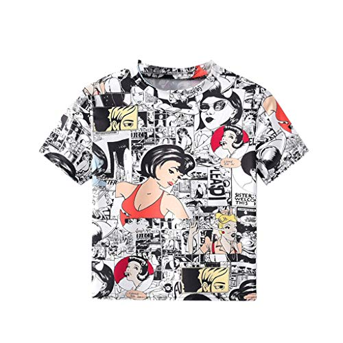 Toponly Womens Loose Blouse Short Sleeve Button Down T Shirts Geometric Animal Print Casual Tops