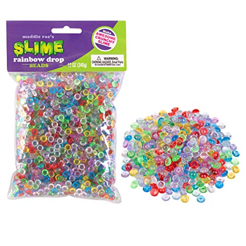 Maddie Raes Slime Beads Drops Rainbow - 12oz Large Bag of Vase Fillers - Great for Making Clear Fishbowl, Crunchy, Marble, Pebble Slime