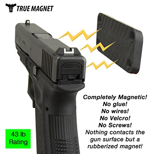Magnet Gun Mount–Powerful N52 43lb Rated Magnetic Holster For Cars, Truck, Vehicle & Home Use –Concealed Firearm Holder With Scratch proof Rubber Coating For Handguns, Rifles, Shotguns, Pistols