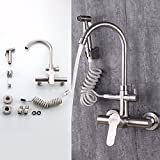 304 Stainless Steel Entry Wall Faucet Cold And Hot Multi-Function Drawing Kitchen Wash Basin Spray Gun Paint Black Sand Hanging Wall Type Faucet,E