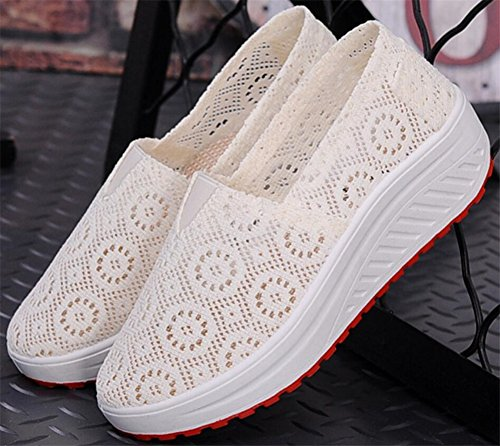 Volwassen Dames Shape Ups Gaas Wandelschoenen Casual Mode Sneakers Beige