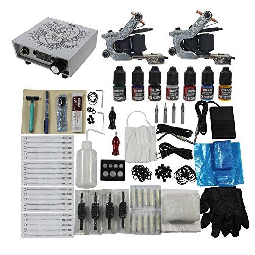 Redscorpion Tattoo Complete Kit Set 2pcs Coil Tattoo Machine Gun for Starter Tattoo Kits Supply (Scorpion Tattoo Machine)