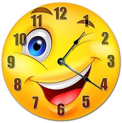 Grande De Emoticon Madera 12 Emoji Guiño Amarillo Reloj PTwikXOuZ